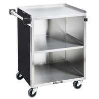 Lakeside 810B 3 Shelf Standard Duty Stainless Steel Utility Cart with Enclosed Base and Black Laminate Finish - 16 1/2 inch x 27 3/4 inch x 32 3/4 inch