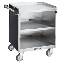 Lakeside 822B 3 Shelf Heavy Duty Stainless Steel Utility Cart with Enclosed Base and Black Laminate Finish - 19 1/2 inch x 31 1/4 inch x 34 1/2 inch