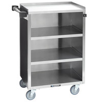 Lakeside 815B 4 Shelf Medium Duty Stainless Steel Utility Cart with Enclosed Base and Black Laminate Finish - 16 7/8 inch x 28 1/4 inch x 37 1/2 inch