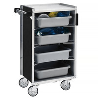 Lakeside 890B Medium-Duty Stainless Steel Enclosed Bussing Cart with Ledge Rods and Black Laminate Finish - 17 5/8 inch x 27 3/4 inch x 42 7/8 inch