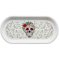 Homer Laughlin 41241823 Skull and Vine Sugar 12 inch x 5 3/4 inch Bread Tray - 6/Case