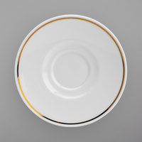 Homer Laughlin 17127404 Gala Mia Gold 6 1/2 inch Bright White China Saucer with Gold Band - 12/Case