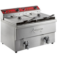 Avantco F202 30 lb. Dual Tank Medium-Duty Electric Countertop Fryer - 208/240V, 5400/7200W