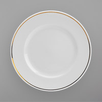 Homer Laughlin 17027404 Gala Mia Gold 9 inch Wide Rim Bright White China Luncheon Plate with Gold Band - 12/Case
