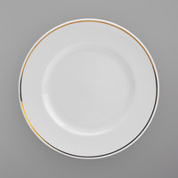 Homer Laughlin 17007404 Gala Mia Gold 11 1/4 inch Wide Rim Bright White China Service Plate with Gold Band - 12/Case