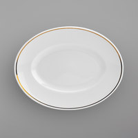 Homer Laughlin 17147404 Gala Mia Gold 9 inch x 6 7/8 inch Bright White China Platter with Gold Band - 24/Case