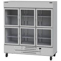 Beverage-Air HBR72HC-1-HG Horizon Series 75 inch Bottom Mount Half Glass Door Reach-In Refrigerator