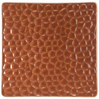 Hall China 49320ACOA 5 inch x 5 inch Hammered Copper Elevated Square China Tray - 24/Case