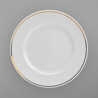 Homer Laughlin 17017404 Gala Mia Gold 10 3/8 inch Wide Rim Bright White China Dinner Plate with Gold Band - 12/Case
