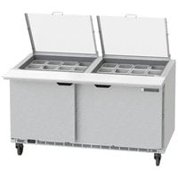 Beverage-Air SPED60HC-24M-2-CL Elite Series 60 inch 2 Drawer Mega Top Refrigerated Sandwich Prep Table with Clear Lid