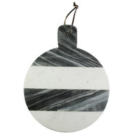 The Jay Companies American Atelier 12 inch White / Gray Round Marble Cutting / Serving Board with Handle