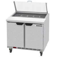 Beverage-Air SPED36HC-10-2-CL Elite Series 36 inch 2 Drawer Refrigerated Sandwich Prep Table with Clear Lid