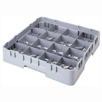 Cambro 16S434151 Camrack 5 1/4 inch High Customizable Soft Gray 16 Compartment Glass Rack