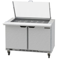 Beverage-Air SPED48HC-18M-2-CL Elite Series 48 inch 2 Drawer Mega Top Refrigerated Sandwich Prep Table with Clear Lid