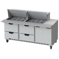 Beverage-Air SPED72HC-24M-4-CL Elite Series 72 inch 1 Door 4 Drawer Mega Top Refrigerated Sandwich Prep Table with Clear Lid