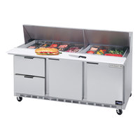 Beverage-Air SPED72HC-12M-2-CL Elite Series 72 inch 2 Door 2 Drawer Mega Top Refrigerated Sandwich Prep Table with Clear Lid