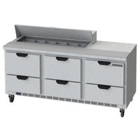 Beverage-Air SPED72HC-12-6-CL Elite Series 72 inch 6 Drawer Refrigerated Sandwich Prep Table with Clear Lid