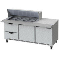 Beverage-Air SPED72HC-18M-2-CL Elite Series 72 inch 2 Door 2 Drawer Mega Top Refrigerated Sandwich Prep Table with Clear Lid