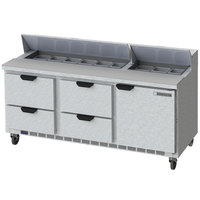 Beverage-Air SPED72HC-18-4-CL Elite Series 72 inch 1 Door 4 Drawer Refrigerated Sandwich Prep Table with Clear Lid