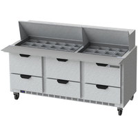 Beverage-Air SPED72HC-30M-6-CL Elite Series 72 inch 6 Drawer Mega Top Refrigerated Sandwich Prep Table with Clear Lid