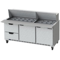 Beverage-Air SPED72HC-30M-2-CL Elite Series 72 inch 2 Door 2 Drawer Mega Top Refrigerated Sandwich Prep Table with Clear Lid