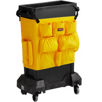 Rubbermaid Slim Jim 23 Gallon Black Trash Can with Yellow Caddy Bag and Dolly
