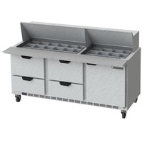 Beverage-Air SPED72HC-30M-4-CL Elite Series 72 inch 1 Door 4 Drawer Mega Top Refrigerated Sandwich Prep Table with Clear Lid