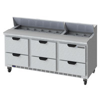 Beverage-Air SPED72HC-18-6-CL Elite Series 72 inch 6 Drawer Refrigerated Sandwich Prep Table with Clear Lid