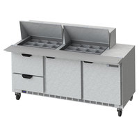 Beverage-Air SPED72HC-24M-2-CL Elite Series 72 inch 2 Door 2 Drawer Mega Top Refrigerated Sandwich Prep Table with Clear Lid