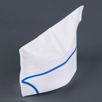 Royal Paper RPOS1 White Paper Overseas Cap with Blue Stripe - 100/Box