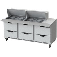 Beverage-Air SPED72HC-24M-6-CL Elite Series 72 inch 6 Drawer Mega Top Refrigerated Sandwich Prep Table with Clear Lid