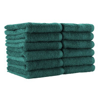 16 inch x 28 inch 100% Ring Spun Cotton Hunter Green Bleach-Safe Hand Towel 3 lb. - 12/Pack