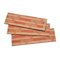 MMF Industries 216020007 Red Pop-Open Flat Paper Coin Wrapper - $0.50, Pennies - 1000/Case