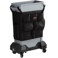 Rubbermaid Slim Jim 23 Gallon Gray Trash Can with Black Caddy Bag and Dolly