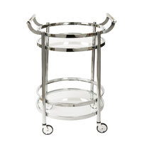 The Jay Companies 1840001 20 inch x 24 inch x 34 inch Chrome Metal and Glass 2 Tier Bar Cart