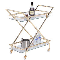 The Jay Companies 1840038 30 inch x 17 inch x 31 inch Gold Metal and Glass 2 Tier Bar Cart