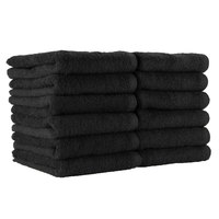 16 inch x 28 inch 100% Ring Spun Cotton Black Bleach-Safe Hand Towel 3 lb.   - 12/Pack
