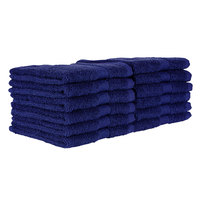 12 inch x 12 inch 100% Ring Spun Cotton Navy Wash Cloth 1 lb.   - 300/Case