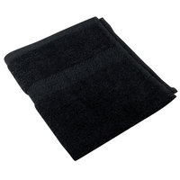 16 inch x 27 inch 100% Ring Spun Cotton Black Hand Towel 3 lb. - 12/Pack