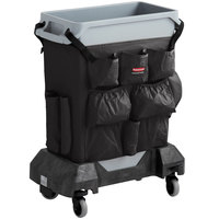 Rubbermaid Slim Jim 16 Gallon Gray Trash Can with Black Caddy Bag and Dolly