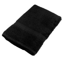 25 inch x 52 inch 100% Ring Spun Cotton Black Bath Towel 10.5 lb. - 12/Pack