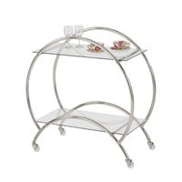 The Jay Companies 1840035 33 inch x 15 inch x 33 inch Silver Metal and Glass 2 Tier Bar Cart