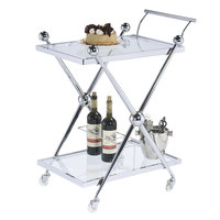 The Jay Companies 1840043 26 inch x 19 inch x 33 inch Silver Metal and Glass 2 Tier Bar Cart