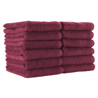 16 inch x 28 inch 100% Ring Spun Cotton Burgundy Bleach-Safe Hand Towel 3 lb. - 12/Pack