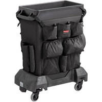 Rubbermaid Slim Jim 16 Gallon Black Trash Can with Black Caddy Bag and Dolly