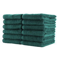 16 inch x 27 inch 100% Ring Spun Cotton Hunter Green Bleach-Safe Hand Towel 2.5 lb. - 12/Pack