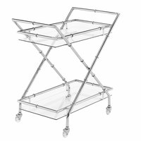 The Jay Companies 1840037 30 inch x 17 inch x 31 inch Silver Metal and Glass 2 Tier Bar Cart