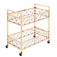 The Jay Companies 1840042 30 inch x 15 inch x 32 inch Gold Metal and Glass 2 Tier Bar Cart