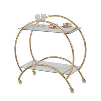 The Jay Companies 1840036 33 inch x 15 inch x 33 inch Gold Metal and Glass 2 Tier Bar Cart