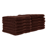 12 inch x 12 inch 100% Ring Spun Cotton Brown Wash Cloth 1 lb. - 12/Pack